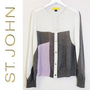 St. John Wool Color Block Sweater size Medium